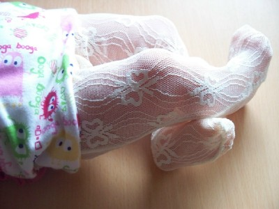 Tiny baby tights size 3-5lb white early baby tights  NOTTINGHAM LACE