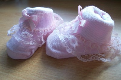 tiny baby socks premature baby socks 0000 3-6LB PINK BOW FRILL