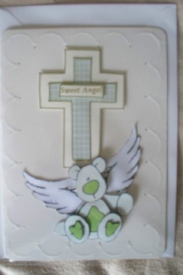 Unisex Baby card miscarriage baby sympathy card SWEET ANGEL in green