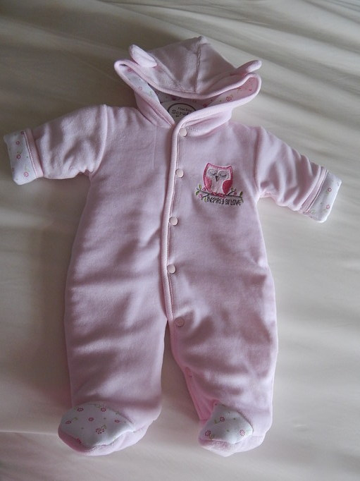 girls Premature baby Padded coat  snowsuit SWEET OWL 3-5lb pink