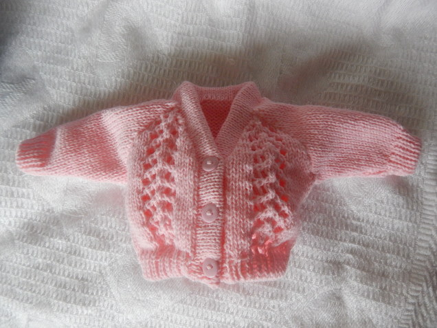 girls baby bereavement clothes pink cute Knitted Cardigan TULIP born 24-25 weeks