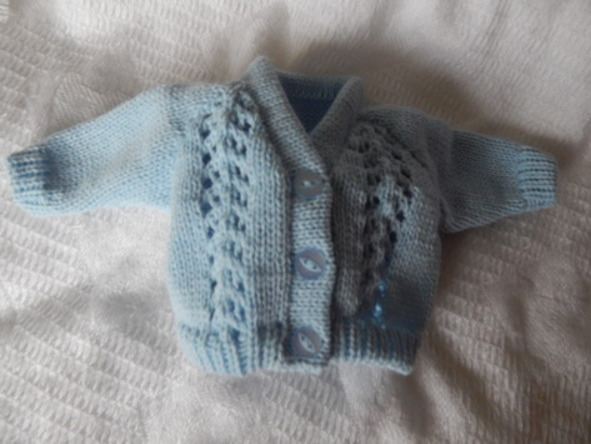 boys baby bereavement clothes Tiny Knitted Cardigan BLUEBELL born 24-25 weeks