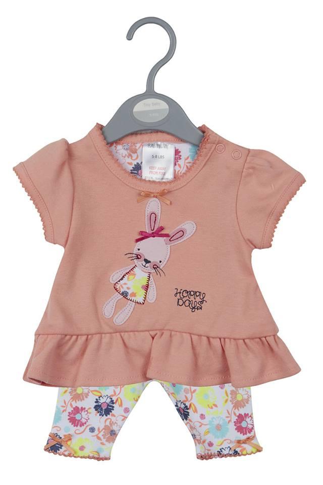 2 piece Premature baby dress newborn peach fluffy bunny setsize 5-8lb