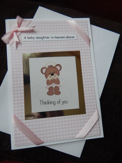 baby sympathy card,baby bereavement,PINK GIRLS SWEET ANGEL.