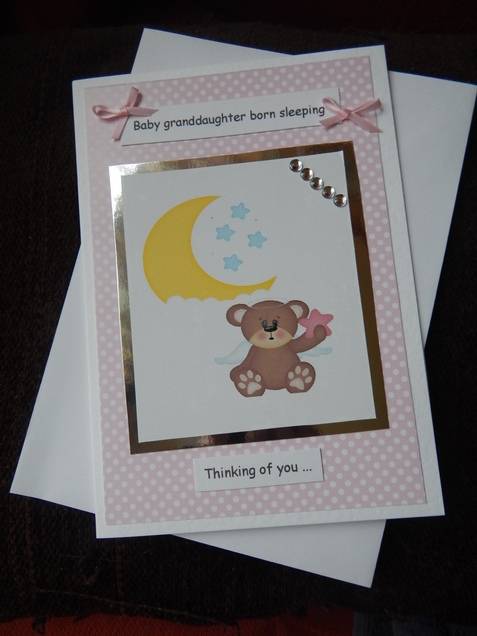 baby girls bereavement card SWEET BABY loss card
