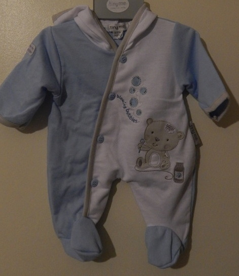 Boys premature baby coat light weight pramsuit BUBBLES 3-5lb