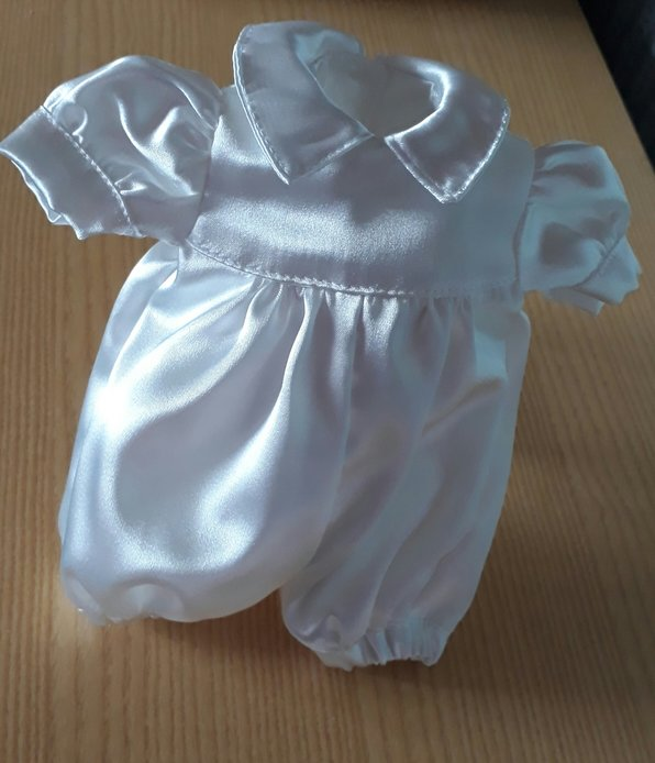 premature baby christening gown bereavement BOYS SATIN ROMPER  ivory born at 24-25 weeks