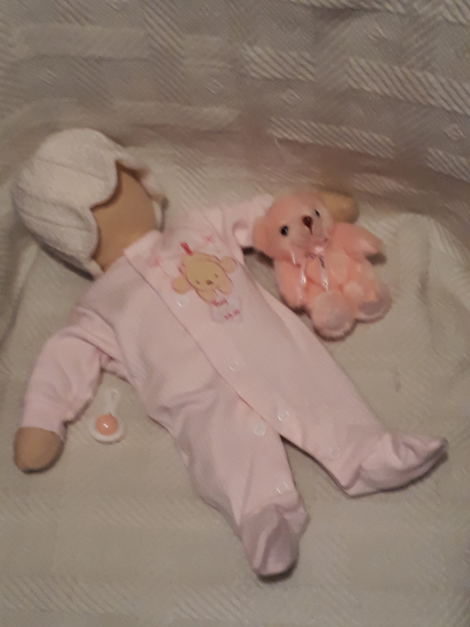 premature baby Clothes tiny babies sleeper MISCHIEF BEAR PINK 2-3LB
