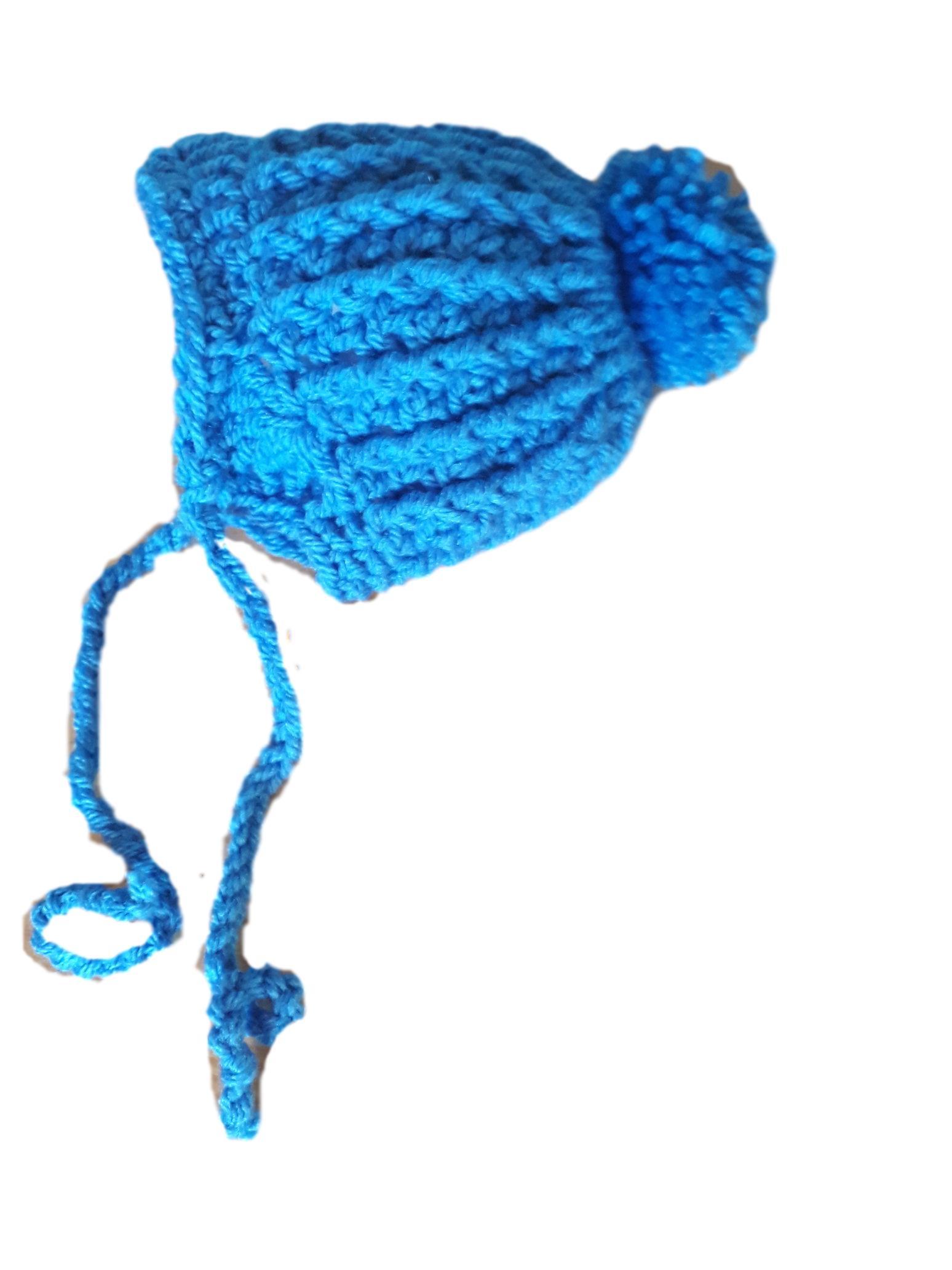 boys premature baby clothes Crochet hat RICH ROYAL blue 3-5lb size