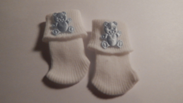 stillbirth baby loss clothes SOCKS micro 0-1lb teddy blue born 20-22weeks