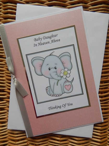 baby girl sympathy card bereavement baby loss PRECIOUS MEMORIES elephant