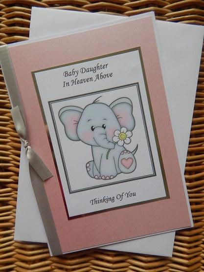 baby girl sympathy card bereavement baby loss PRECIOUS MEMORIES elephant
