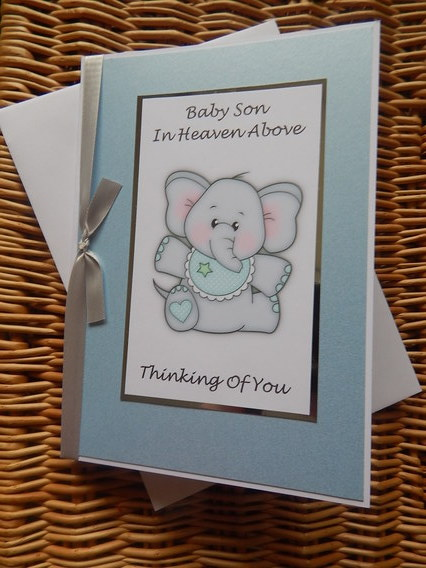 condolances card Baby Boy card  bereavement PRECIOUS MEMORIES elephant blue