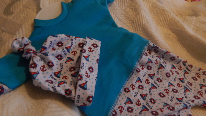 Nanny Nicu Boys colourful SHIP A HOY  tiny premature baby clothing 3-5lb