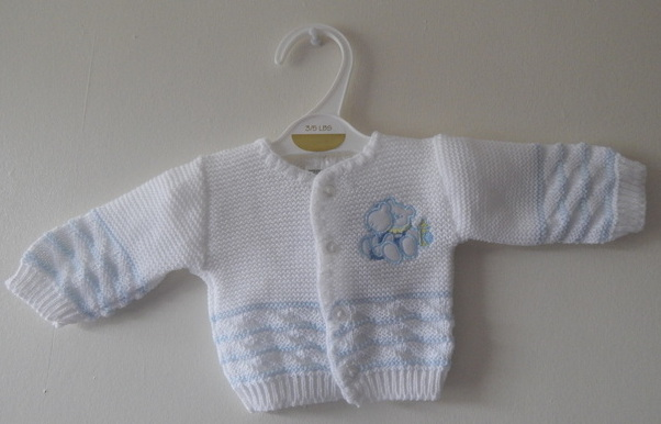 knitted cardigans boys premature babies 5-8lb HELLO TEDDY white with blue cardigan