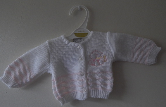 knitted girls cardigans premature baby girl HELLO TEDDY sizes 5-8lb white pink