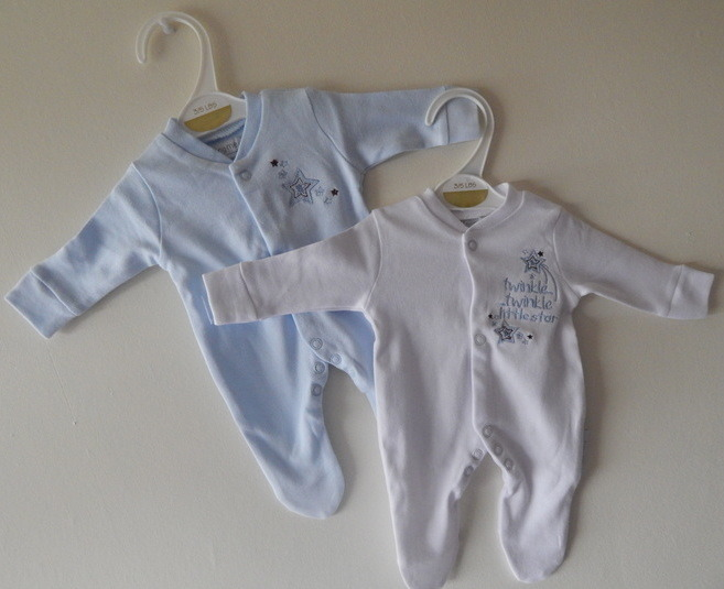 boys premature babies sleepsuits pack 2 babygrows LITTLE STAR 2-3lb