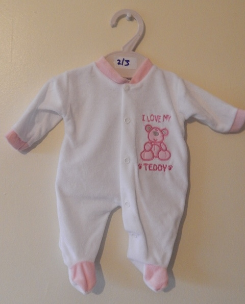 girls preterm babies clothes early baby 3-5lb LOVABLES babygrow white pink
