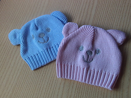 boys cutest premature baby clothes KNITTED hat HUGGY BEAR 3-5lb blue