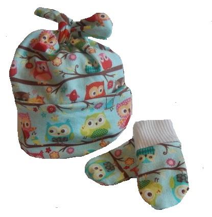 boys prem baby hat Designer knotted hat mitts OLLY OWL premature 3-5lb size