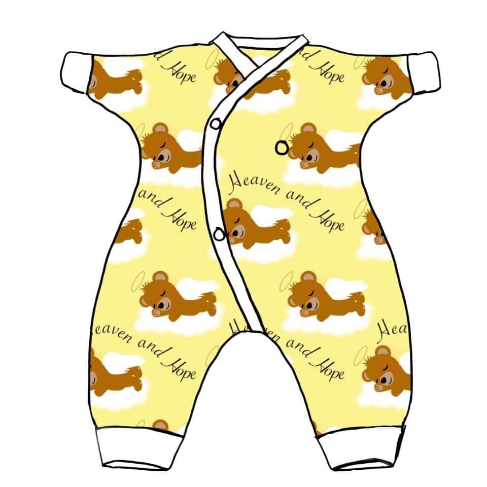 tiny baby clothes unisex bereavement HEAVEN AND HOPE teddies lemon