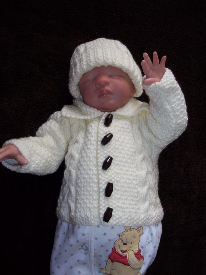 3lb baby premature baby jacket short coat ARAN knitted 3-5lb all colours
