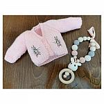Tiny Baby cardigan with embroidered BONNY BUNNY pink 2-3lb