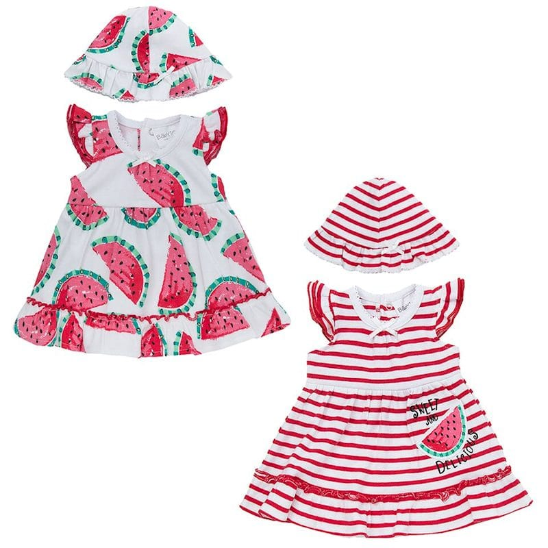 premature baby dress 3-5lb or 5-7lb WATERMELON RED lush stripes