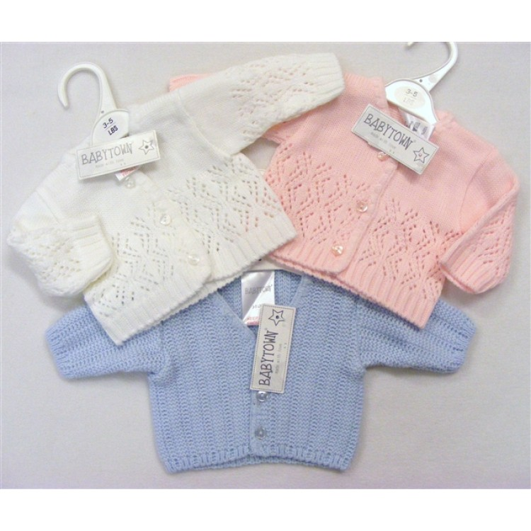 COMFY Premature baby cardigans tiny newborn in 5-8lb all colours PURE KNIT