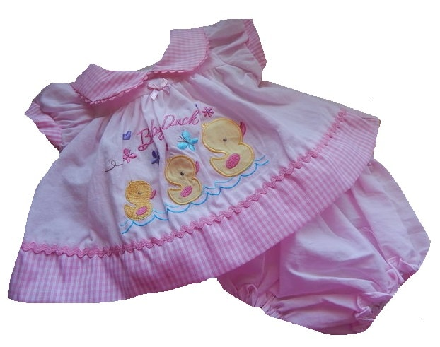 Premature baby dress and knicks PINK DARLING DUCKY 3-5lb 5-8lb NB  early baby dresses