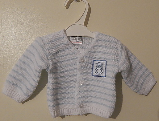 boys premature baby clothes knitted cardigan MILKY MOO 3-5LB size