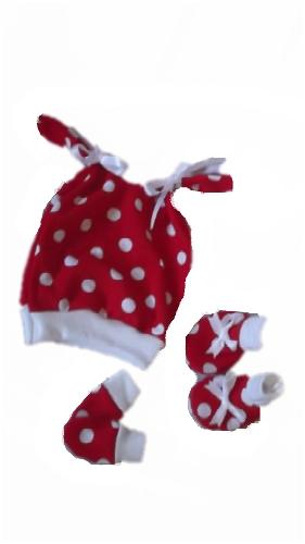 Girls premature babies hat gift set TWEENIE POLKA DOT red white 5-8lb