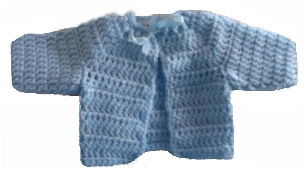 Premature baby tiny crochet cardigan BEDTIME BLUE 3-5lb