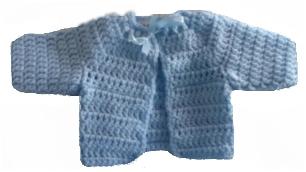 Premature baby tiny crochet cardigan BEDTIME BLUE 3-5lb