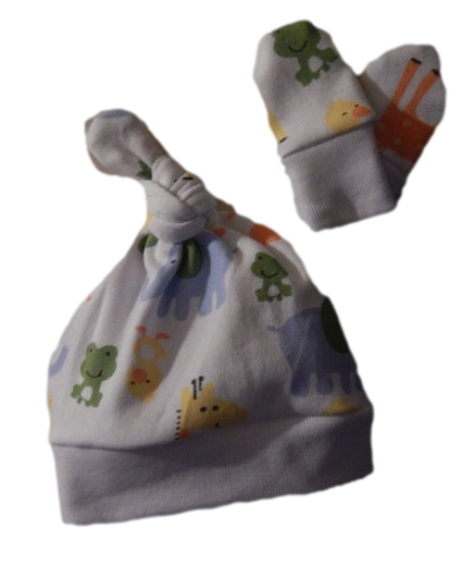 premature tiny baby hat scratch mittens all prem sizes PARTY ANIMALS