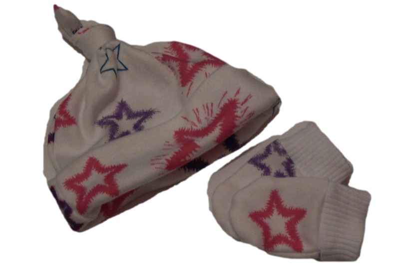 girls premature baby hat and mittens gift set STARLIGHT STARBRIGHT 3-5LB