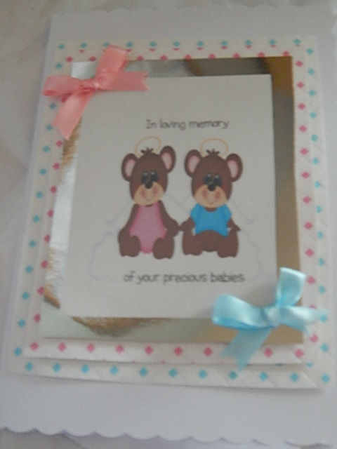 condolence sympathy cards Twin babies Boy baby Girl HUGGY BEARS