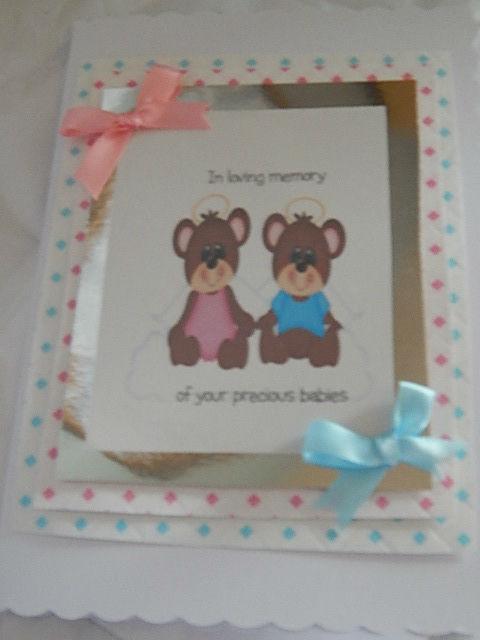 condolence sympathy cards Twin babies Boy baby Girl HUGGY BEARS