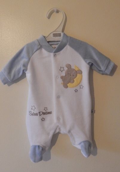 babies clothes premature sleepsuit baby grow 5-8lbs blue SWEET DREAMER