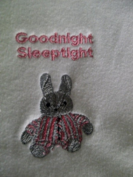 tiny baby Loss burial blanket embroidery goodnight bunny PINK  26CM