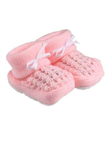Girls knit newborn  baby shoes tiny baby Bootees PINKY WINK 5-8lb