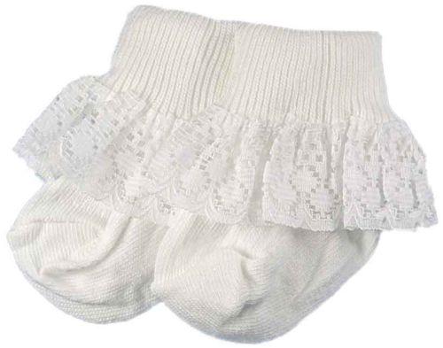 Frilly prem baby socks 5-8lb LUSH WHITE TRIM 000 socks tiny baby girls