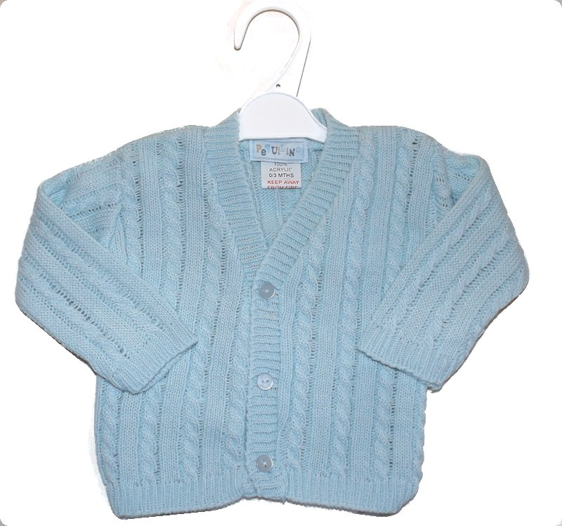 premature cardigan NEAT KNITS Baby Blue tiny babies size 3-5lb