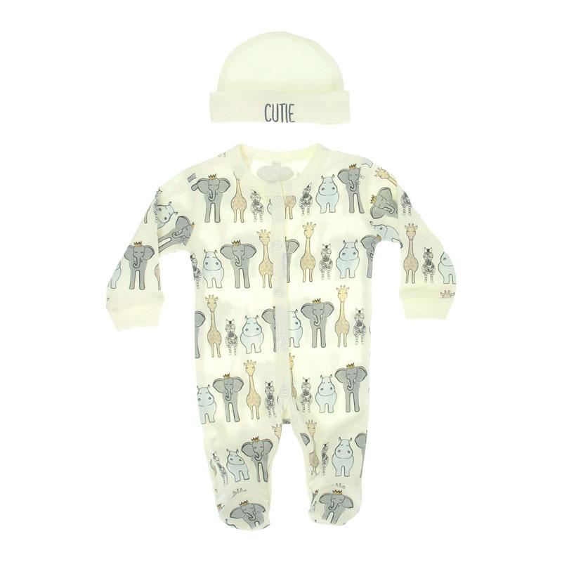 premature baby clothes 3-5lb little boys ANIMAL SAFARI sleepwear with hat