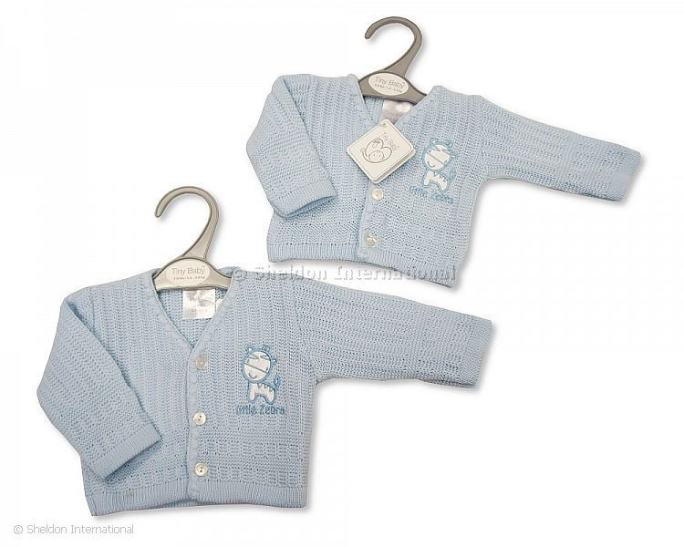tiny cardigans premature baby clothes BLUE cardigan 5-8LB AMUSING ANIMALS