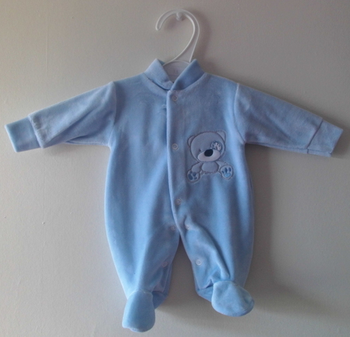 boys premature baby clothes BLUE velour sleepsuit 3 - 5 lb size HELLO BEAR