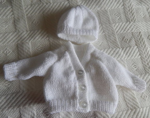 unisex baby bereavement clothes CARDIGAN SET White born 22-24 week