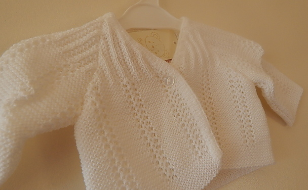 Girls premature baby cardigan WHITE 5-8lb LITTLE LADY tiny