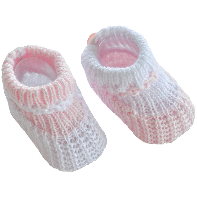 Girls knit Premature babies shoes tiny baby Bootees PINK STRIPES 5-8lb