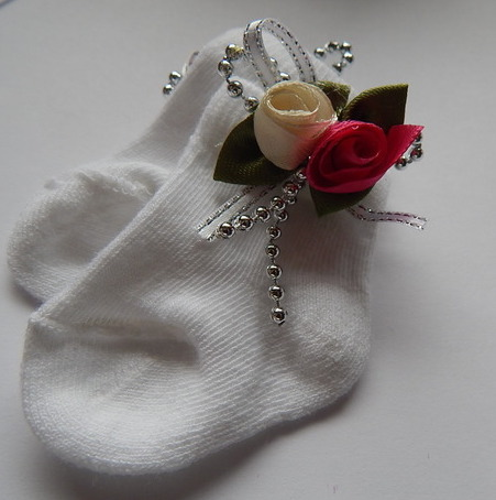 tiny baby girls socks special occasion SILVER AND ROSES 0000 born premature 3-5lb